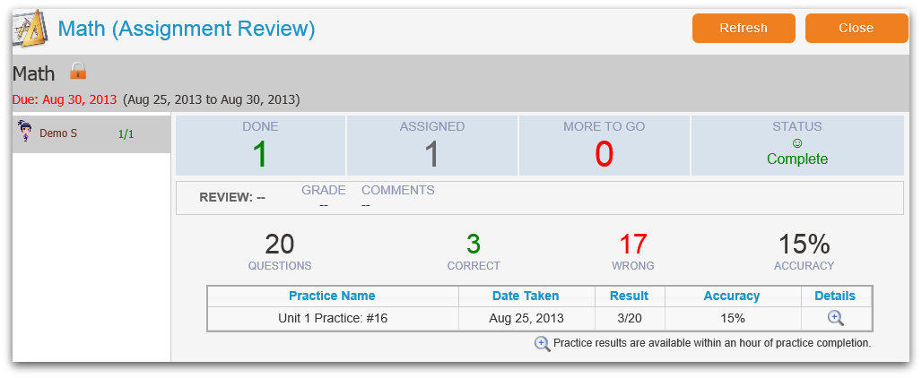 assignment result