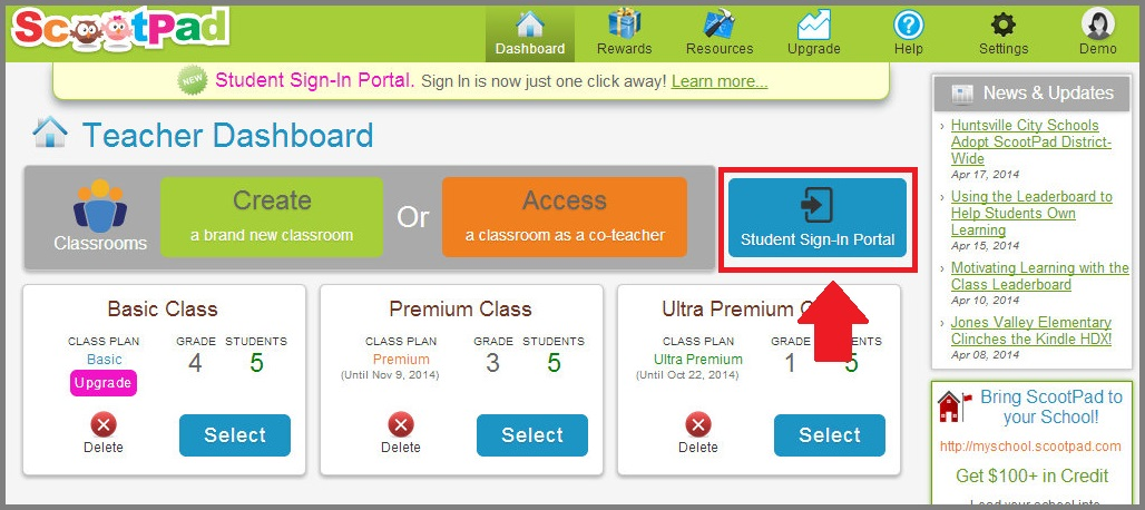 New Student Sign-In Portal! – ScootPad