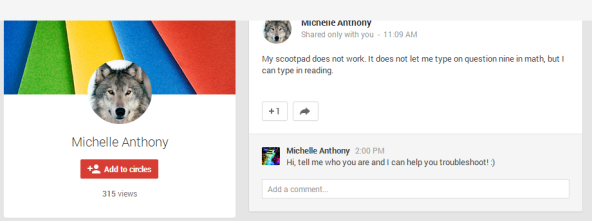 This clever student connected with me through our class Google+ account.